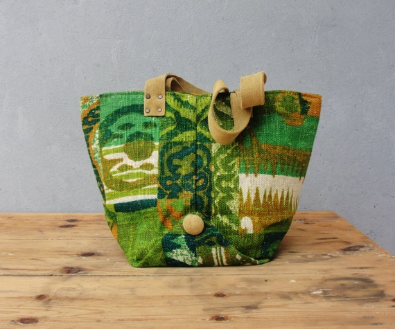 Green Linen Tote Bag - Vintage Screen Printed Linen and Suede Leather