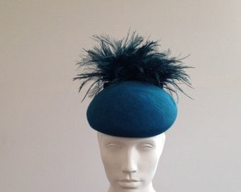 Zoot - Teal Wool Felt Beret with emu pom feathers and bow Great for the races, Ascot or a wedding