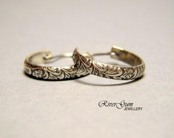 Sterling Silver Hoop Earrings, Small Hoop Earrings, Oxidized Silver Earring Hoops - Botanical Series