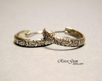 Sterling Silver Hoop Earrings, Small Hoops, Oxidized Silver - Botanical Series