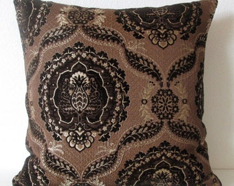 Pillow Cover - High End Fabric - Brown - Medallion - Upholstery - decorative - Throw - Cushion Cover