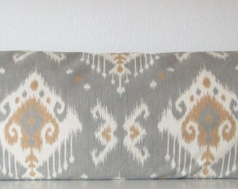Grey ikat decorative body pillow cover  - 20x54 - grey and tan southwestern ikat accent pillow cover