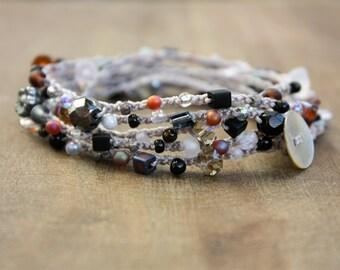 JULY SALE 50% Off - Black Silver White Gold Gray Amber Bead Crochet Wrap Bracelet Necklace, Crochet Jewelry - PEBBLES