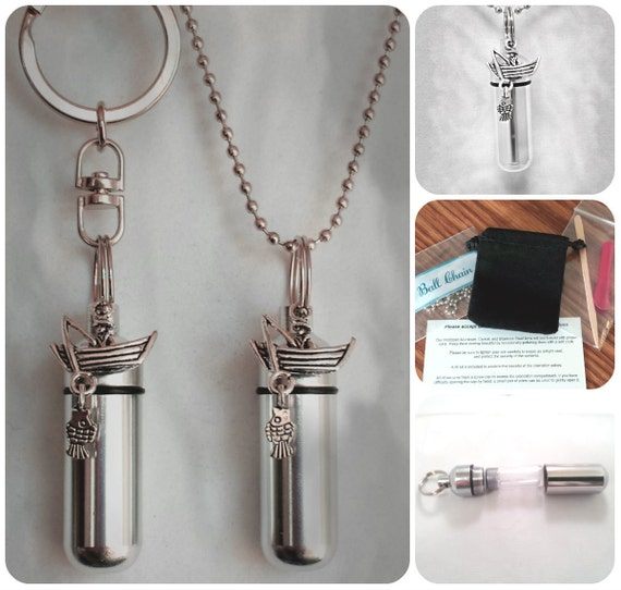 FISHERMAN Fishing  2pc. Special Set - Cremation Urn Necklace & Keychain Urn and Velvet Pouches
