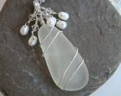 Reserve Listing for Jodi - White Sea Glass Necklace and Earrings