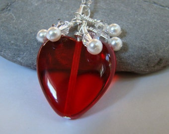 Red Heart Necklace - Holiday Jewelry - Valentine Jewelry - Valentines Pendant -  Sterling Silver Chain