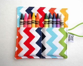 Mini Crayon Roll- Rainbow Chevron - 8-10 crayons party favor kids crayon wallet metalic crayon roll toddler crayon travelset
