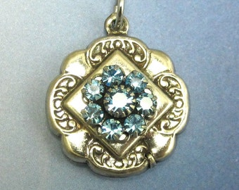 Rhinestone Flower Pendant Light Aqua Blue Swarovski Crystal Antique Silver Bead D-210