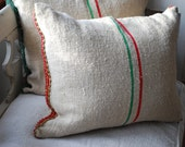 Christmas pillow from authetic antique grainsack, vintage feedsack, red velvet trim