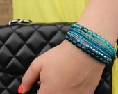 Midnight by the ocean stackable set of five blue beaded bracelet