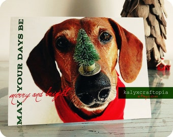 Red Longjohn Dachshund Christmas Cards - Set of 5 Merry and Bright