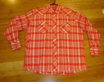 Costume cowboy Western Square dance Rodeo shirt plaid red white  men's sz 18 36  Halloween