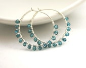 1/2 OFF SPRING SALE . London Blue Mystic Quartz Hoops . Sterling Silver Wire Wrapped Hoop Earrings . Blue Quartz Earrings