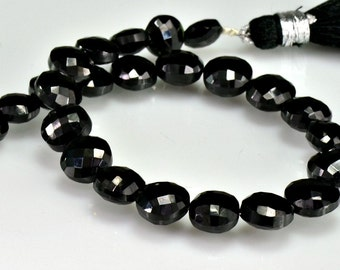 Black Spinel Coin Beads  Micro Faceted  AAA Black Coin Briolettes