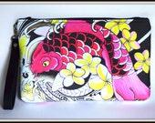 iPad Mini Koi Zipper Clutch with Leather wrist strap - Tattoo Art by Keahi Raikes