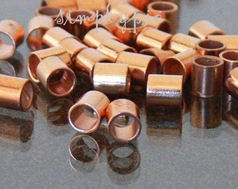 Large Hole Seamless Tube Copper Crimp Beads 3mm 40 Metal Beads