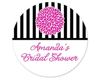 Custom Bridal Shower Stickers - Favor Labels - Personalized Labels - Favor Stickers - Flower Labels - Choose Your Colors