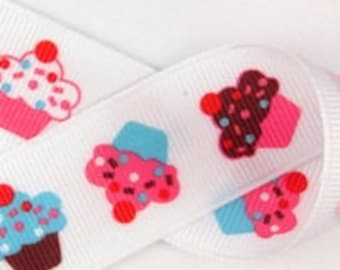 1.5 inch wide Grosgrain Ribbon-----3 YARDS----CUPCAKES----Brown Hot Pink Red White Turquoise
