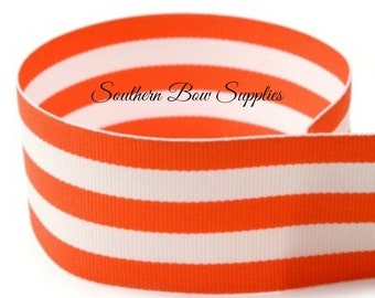1.5 inch Grosgrain Ribbon-------3 Yards-----Stripes-----Orange White------Hair bow Making Supplies