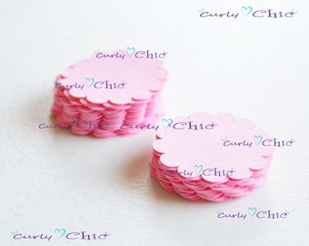 "55 Scalloped Circle Tag Size 1"" -Scalloped Circles die cuts -Cardstock tags -Scalloped labels -Paper die cuts -Paper Die cuts"