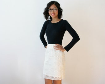 CLEARANCE - Womens Crochet Pencil Skirt, White Crochet Skirt, Stretch Lace Casual Skirt, White Lace Skirt, White Pencil Skirt, Chic - KATIE