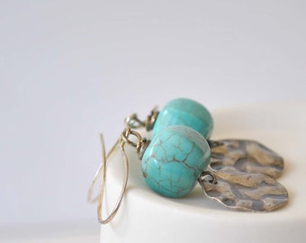 Turquoise Earrings, Stone Bead Earrings, Dangle Earrings, Metal Drop Earrings