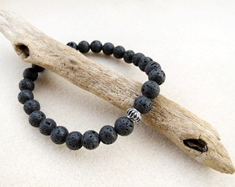 Mens Mala Style Bracelet in Black Lava Stone with Stainless Steel Silver Focal, Yoga, Zen, Stretch, Stack, Rustic, Handmade, Jewelry for Man