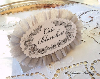 French Frills. Vintage French Framed Place Cards with Ruffles