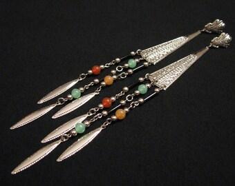 GIANT Vintage Southwestern Silver Tone Dream Catcher Etched Chandelier Fringe Beaded Dangle Pierced Earrings