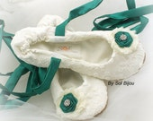 Ballet Flats, Ivory, Emerald, Green, Wedding, Bridal, Shoes, Flats, Flower Girl, Ballerina Slippers, Lace, Crystals, Elegant, Comfortable
