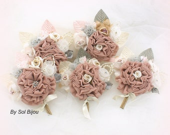 Boutonnieres, Corsages, Dusty Rose, Ivory, Silver, Champagne, Tan, Beige, Gray, Groomsmen, Groom, Mother of the bride, Pearls, Crystals