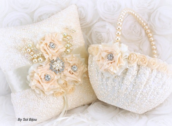 Ring Bearer Pillow, Flower Girl Basket, Cream, Silver, Ivory, Elegant Wedding,Vintage Style, Pearl Handle,Lace Pillow,Crystals, Pearls,Round