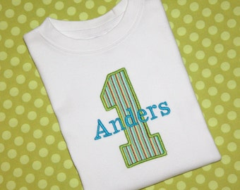 Boys First Birthday T-shirt, Birthday T-shirt, Birthday Tee- Lime,Turquoise, Brow, Yellow, Light Blue - Name Included