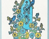 Summertime Birdhouse Post Card