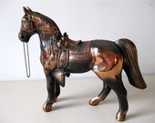 Vintage cast metal horse Large metal bronze color molded horse