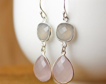 Silver Grey Chalcedony & Pink Chalcedony Earrings - Bridesmaids Earrings