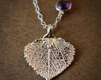 Silver Dipped Aspen Leaf Necklace - Purple Amethyst - Layering Necklace