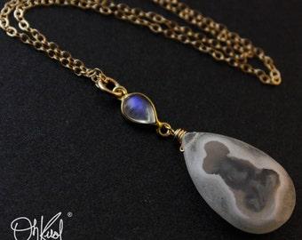 Solar Quartz Rainbow Moonstone Necklace - Blue Flash Moonstone - 14kt Gold Fill
