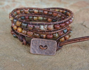 Santa Fe Jasper Beaded Leather Wrap Bracelet