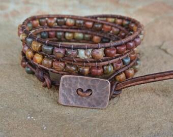Santa Fe Jasper Beaded Leather Wrap Bracelet