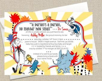 Dr Seuss Shower Invitation - Cat in the Hat - Horton - Digital Printable File
