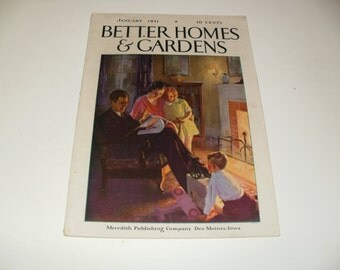 Vintage Better Homes and Gardens Magazine January 1931 - Retro 1930s Art Scrapbooking Paper Ephemera