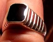 Vintage Antique Size 12 Sterling Silver and Black Onyx 60's Style Designer Ring
