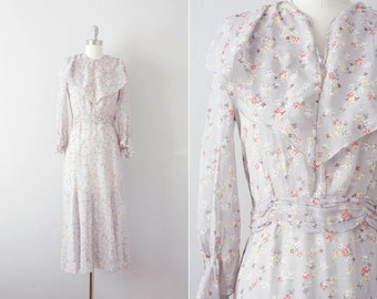 Sale // 1930s sheer floral dress / vintage 30s cotton print dress / Mountainside Phlox dress