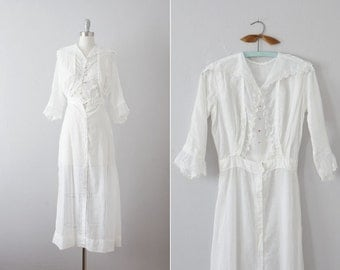 Sale // 1910s sheer white embroidered cotton dress / antique wedding dress / Young Orchard dress