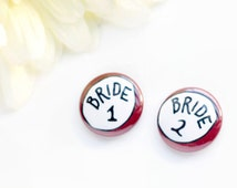Lesbian Wedding Pinback Buttons Bride Badges Two One Inch Two Brides LGBT Gay Marriage Whimsical Engagement Gift