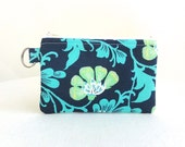 Navy Floral Zippered Bag / Coin Purse / Id Case / Gadget Pouch with Split Ring - READY TO SHIP