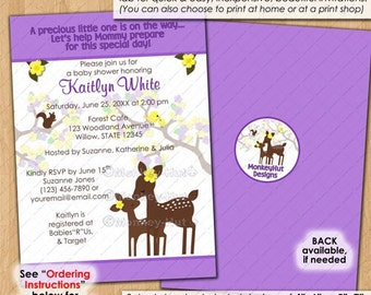 Willow Deer Baby Shower Invitations Lemon Yellow Lavender / girls girl mommy forest woodland blossoms Personalized DIGITAL INVITATION #0187