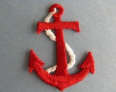 red anchor patch vintage nautical patch large naval appliqué sailor jacket patch new old stock