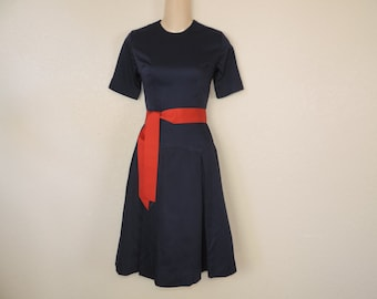 50s navy day dress nautical simple fit and flare sailor dress small